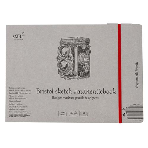Blok SM-LT bristol szyty z gumką 17,5X24cm 185g 18ark