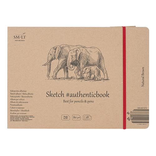 Blok SM-LT sketch pad natural brown szyty z gumką 17,5X24cm 80g