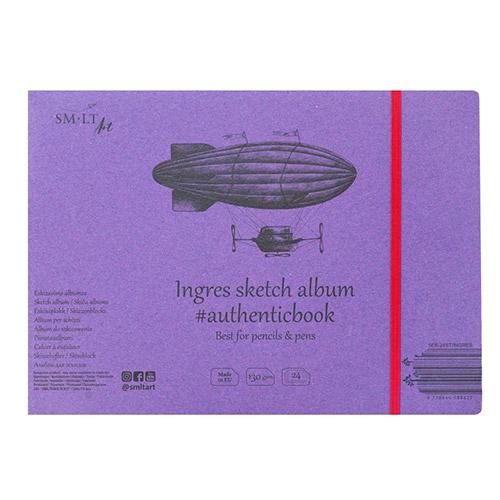 Szkicownik SM-LT ingres sketch szyty z gumką 175x245mm 130g24ark