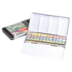 Renesans akwarele miodowe półkostki 48 sztuk met.kaseta z paletą