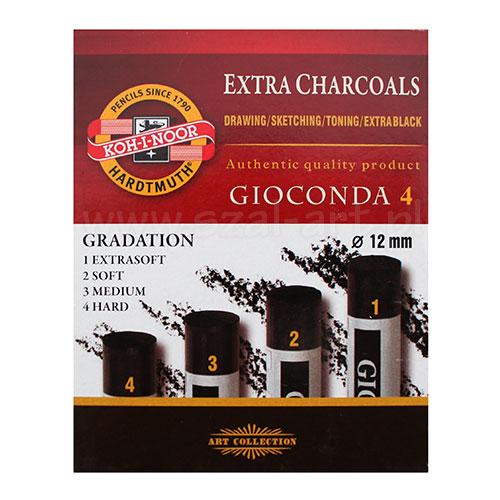 Koh-i-noor gioconda zestaw 4 węgli prasowanych czarnych