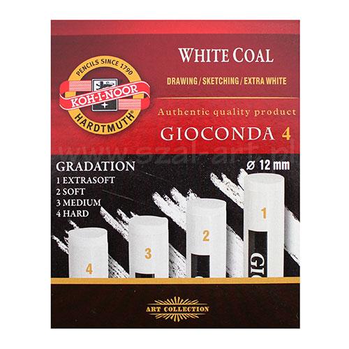 Koh-i-noor gioconda zestaw 4 węgli prasowanych białych