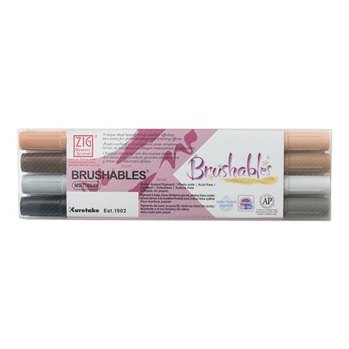 Kuretake brushables zestaw 4 dwustronnych pisaków - brown