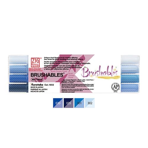 Kuretake brushables zestaw 4 dwustronnych pisaków - blue