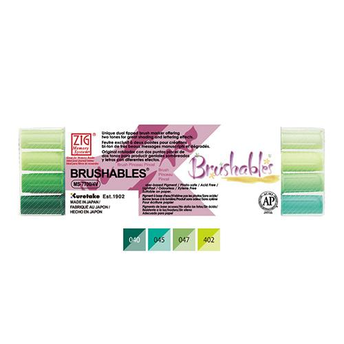Kuretake brushables zestaw 4 dwustronnych pisaków - green