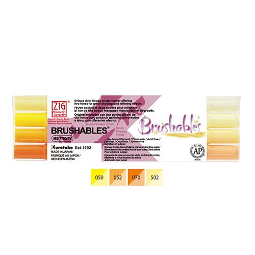 Kuretake brushables zestaw 4 dwustronnych pisaków - yellow