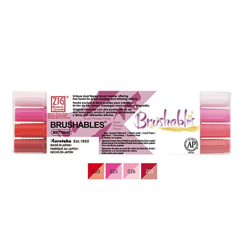 Kuretake brushables zestaw 4 dwustronnych pisaków - red