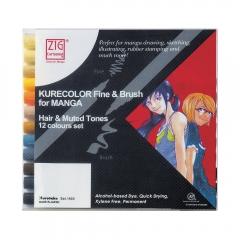 Kurecolor fine&brush manga hair&muted zestaw 12 pisaków