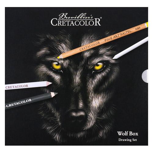 Cretacolor wolf box drawing set zestaw pasteli i węgli