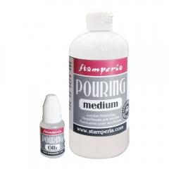 Stamperia pouring medium 500ml + olej silikonowy 20ml