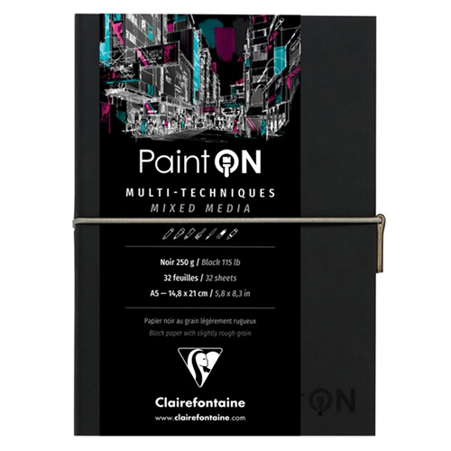 Blok Clairefontaine paint on mixed media 250g 32ark black