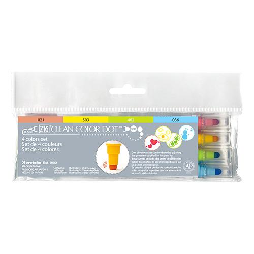 Kuretake clean color dot zestaw 4 pisaków