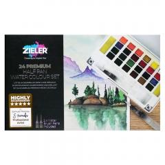 Zieler premium watercolor zestaw 24 akwareli półkostek