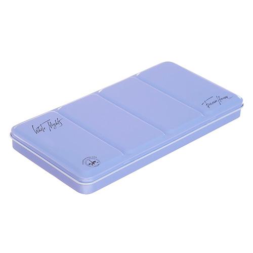 Białe noce metalowa kaseta na akwarele w kostce 35szt j.niebiesk