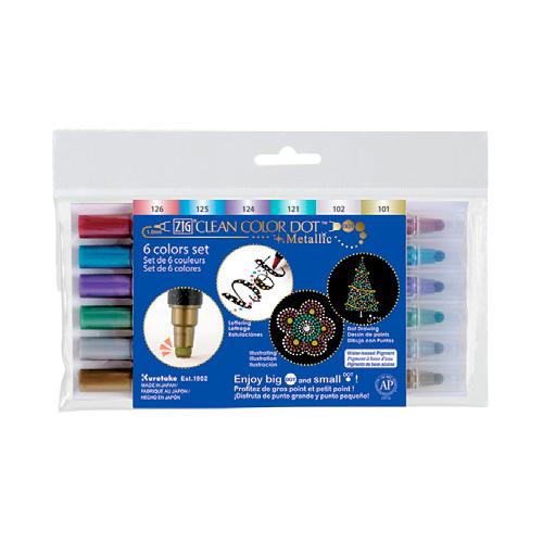 Kuretake clean color metallic dot zestaw 6 pisaków metalicznych