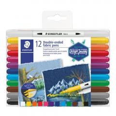 Steadtler dwustronne flamastry do tkanin design journey 12 kolor