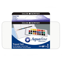 Daler Rowney aquafine travel zestaw 24 akwareli w kostce