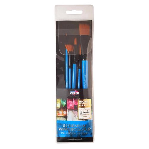 Zieler premium watercolour zestaw 5 pędzli syntetycznych