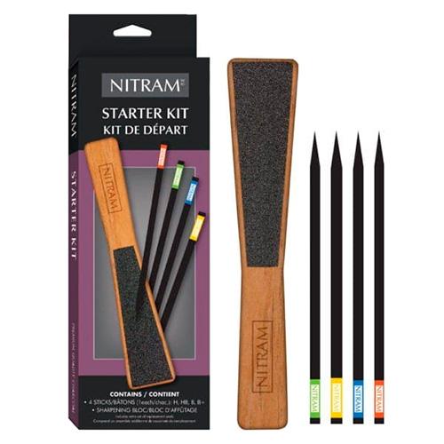Nitram starter kit zestaw węgli artystycznych + ostrzałka