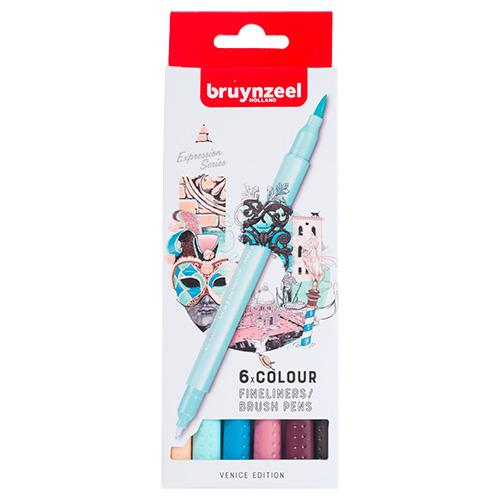 Bruynzeel fineliners brush pen venice zestaw 6 sztuk