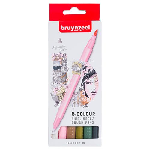 Bruynzeel fineliners brush pen tokyo zestaw 6 sztuk