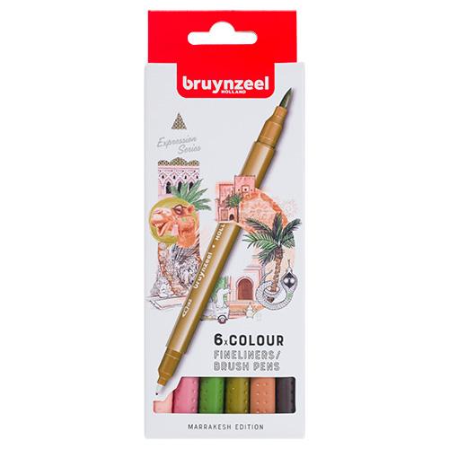 Bruynzeel fineliners brush pen marrakesh zestaw 6 sztuk