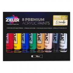 Zieler premium acrylic zestaw farb akrylowych 8x75ml