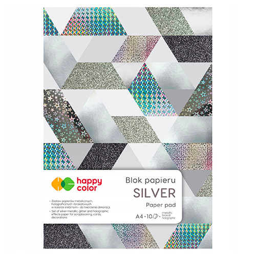 Blok Happy Color silver 6 różnych wzorów A4 150-230g 10ark