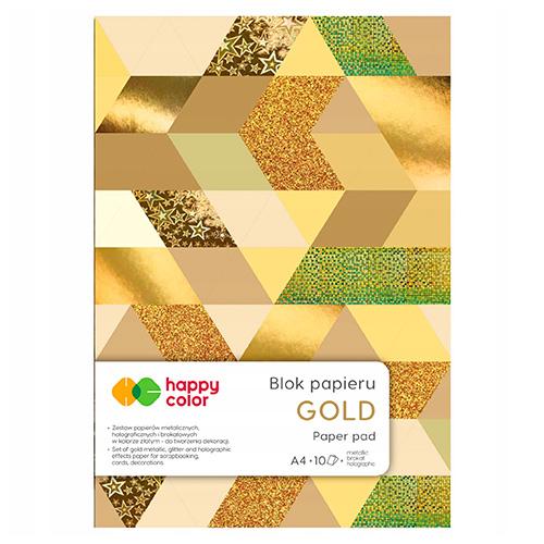 Blok Happy Color gold 6 różnych wzorów A4 150-230g 10ark