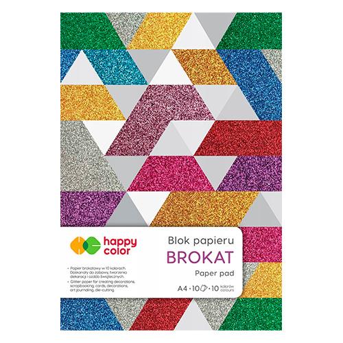 Blok Happy Color brokat 10 różnych kolorów A4 150g 10ark