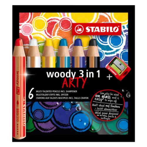 Stabilo woody 3w1 arty kredki 6 kolorów