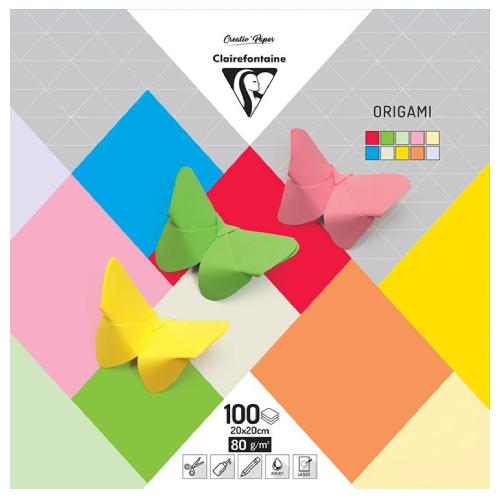 Clairefontaine papier origami basic 20x20 80g 100ark 10 kolorów