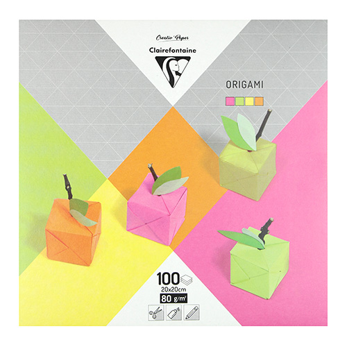 Clairefontaine papier origami neon 20x20 80g 100ark 4 kolory