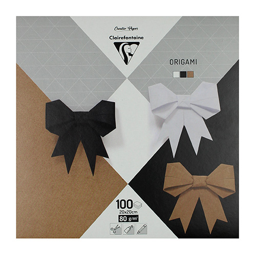 Clairefontaine papier origami neutral 20x20 80g 100ark 3 kolory