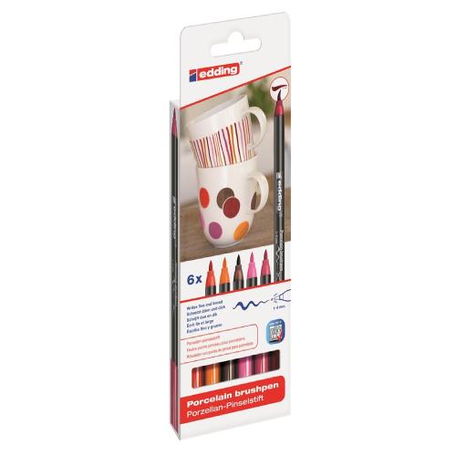 Edding zestaw 6 pisaków do porcelany 1-4mm ciepłe kolory