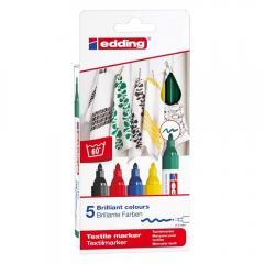 Edding zestaw 5 pisaków do tkanin 2-3mm podstawowe kolory
