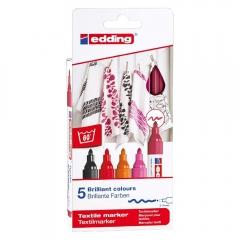 Edding zestaw 5 pisaków do tkanin 2-3mm ciepłe kolory