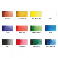 Kuretake Zig zestaw 12 transparetnych farb akwarelowych