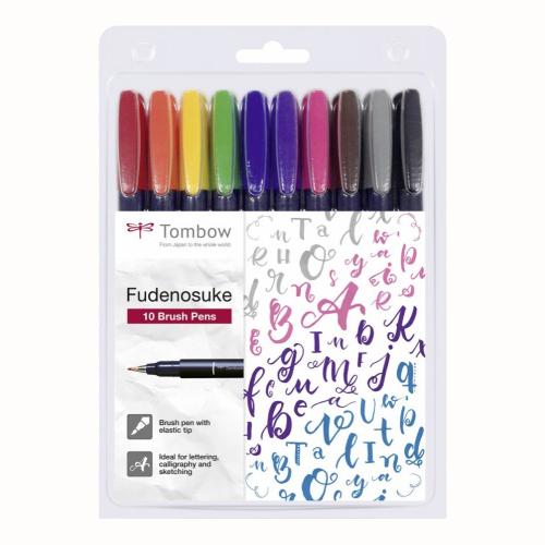 Tombow Fudenosuke flamaster brush pen zestaw 10 pisaków