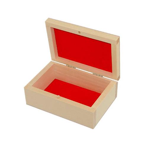 Drewniana kasetka wykładana flokiem 12,5x9cm