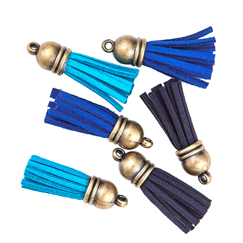 DP Craft chwosty dekoracyjne 6 sztuk - błękit, niebieski, granat