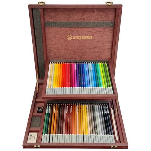 Stabilo carbothello 60 pasteli suchych w kredce drewniana kaseta
