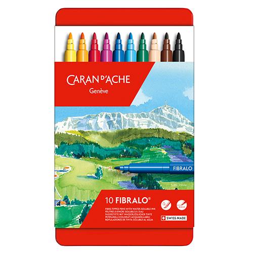 Caran dAche fibralo zestaw 10 flamastrów metalowe opakowanie