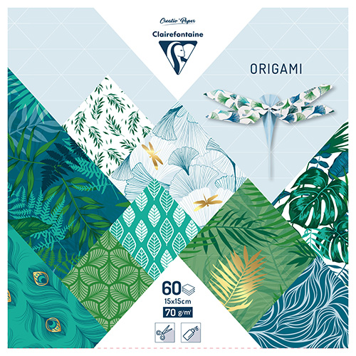 Clairefontaine papier origami vegetal chic 15x15cm 70g 60ark