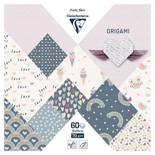 Clairefontaine papier origami little love 15x15cm 70g 60ark