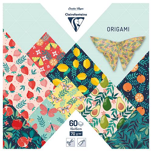 Clairefontaine papier origami fruit garden 15x15cm 70g 60ark