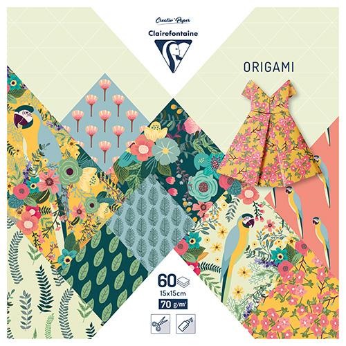 Clairefontaine papier origami kiribati 15x15cm 70g 60ark