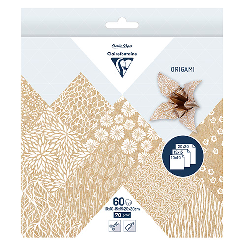 Clairefontaine origami kraft floral 10x10,15x15,20x20 70g 60ark