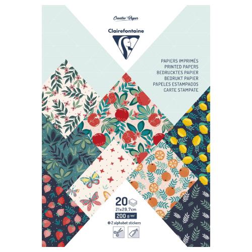 Clairefontaine papier dekoracyjny fruit garden A4 20 arkuszy