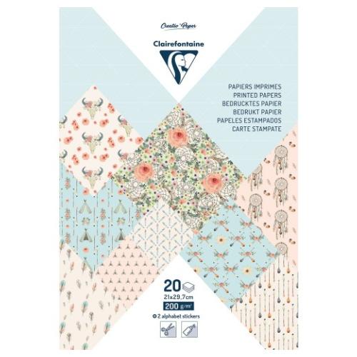 Clairefontaine papier dekoracyjny boheme chic A4 20 arkuszy
